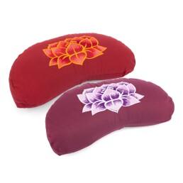 Cuscino mezzaluna con ricamo loto