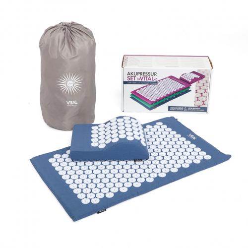 Agopressione: set tappetino e cuscino ergonomico blu