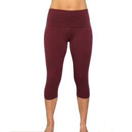 legging capri yoga bordò cotone - wellness bazaar