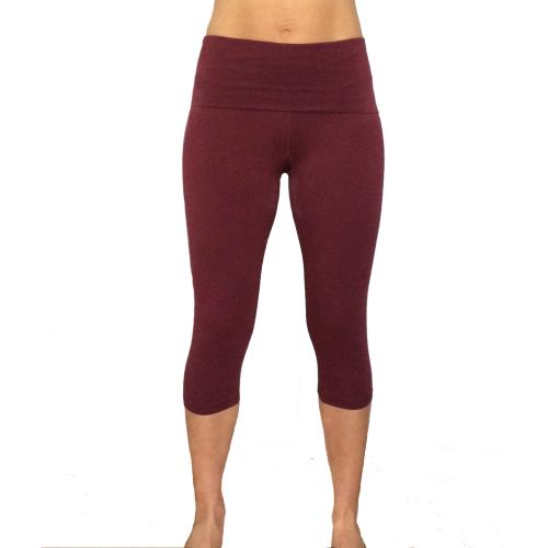 legging capri yoga bordò cotone - wellness bazaar