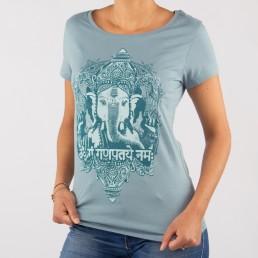 T-shirt yoga blu vintage cotone bio con Ganesha