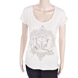 T-shirt da donna in cotone bio per pratica yoga con Ganesha