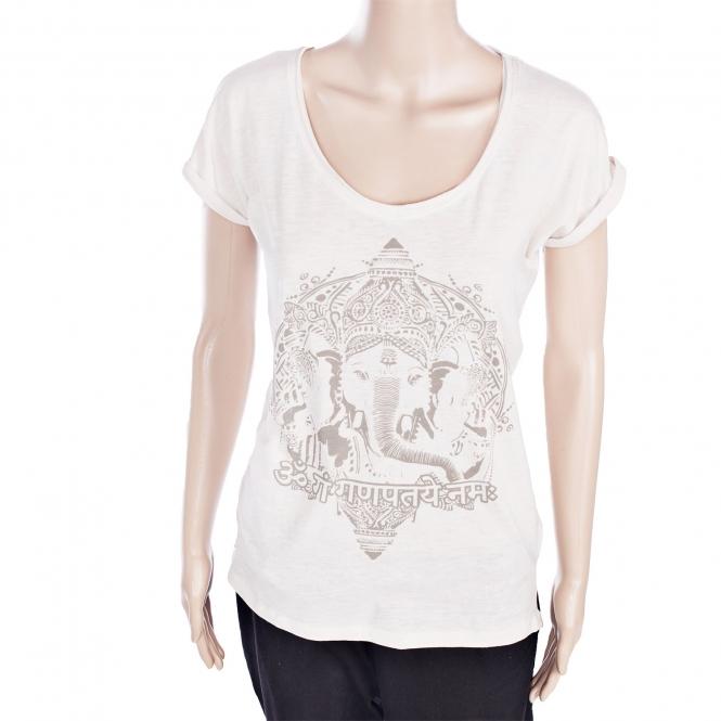 7eb36e5bf9 T-shirt in cotone bio 100% da donna, con stampa 'Ganesh' - Wellness ...