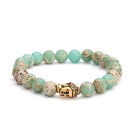 serpentina verde bracciale con Buddha