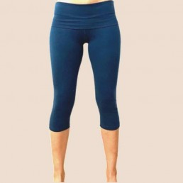 legging 3/4 blu cotone